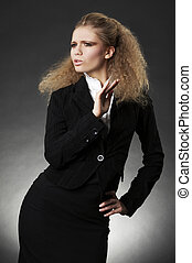 femme, facial, business, expression