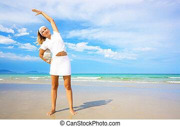 femme, faire, matin, exercises., manière vivre saine