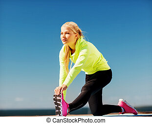 femme, faire, sports, dehors