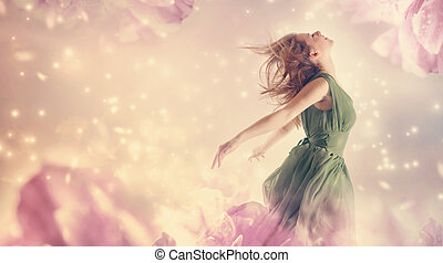 femme, fantasme, fleur, rose, pivoine, beau
