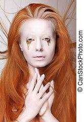 femme, fantasme, masquerade., make-up., roux, futuriste