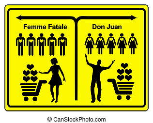 Femme Fatale and Don Juan - Concept sign of a female and a...
