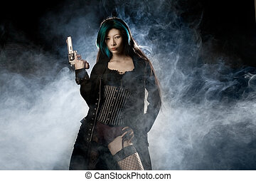 Femme Fatale - Asian beauty holding gun with smoke in...
