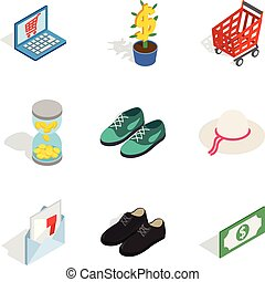 Femme fatale icons set, isometric style - Femme fatale icons...
