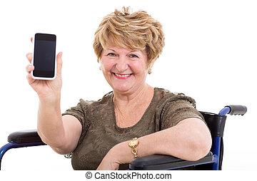 femme, fauteuil roulant, personnes agées, téléphone, projection, intelligent