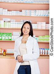 femme femelle, jeune, fonctionnement, pharmacie