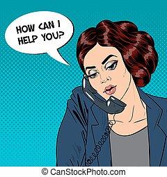 femme, femme affaires, pop, vecteur, téléphone., illustration, bureau., parler, art.