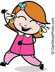 femme, -, femme foyer, agiter, vecteur, illustration, maman, dessin animé, retro