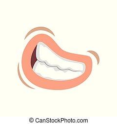 femme, femme, jeune, illustration, bared, lèvres, vecteur, bouche, fond, émotif, dents blanches