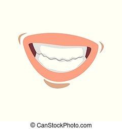 femme, femme, jeune, illustration, lèvres, vecteur, bouche, fond, émotif, sourire, dents, blanc