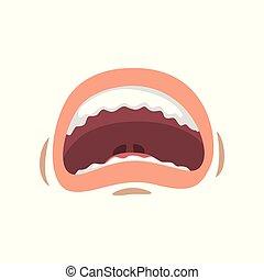 femme, femme, jeune, illustration, vecteur, bouche, fond, bouche, émotif, peur, ouvert, blanc