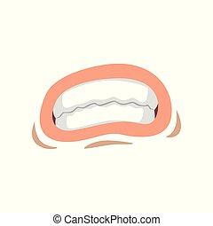 femme, femme, jeune, serré, lèvres, vecteur, bouche, illustration, fond, émotif, dents blanches