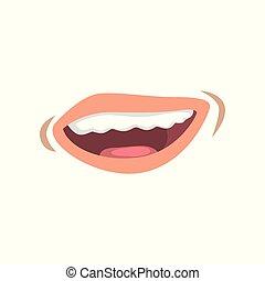 femme, femme, lèvres, jeune, illustration, vecteur, bouche, fond, émotif, sourire, blanc