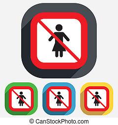 femme, femme, non, symbole., signe, humain, icon.