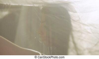 femme, fenêtre., jeune