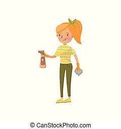 femme, fermé, habillement, jeune, illustration, désinvolte, pulvérisation, vecteur, chiffon, activité, poussière, femme foyer, essuyer, dessin animé, ménage