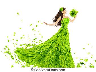 femme, feuilles vertes, robe, fantasme, créatif, beauté, floral, robe, s