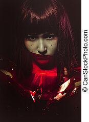 femme, fictio, sci-fi, science, armure, cyborg, avenir, sensuelles, rouges