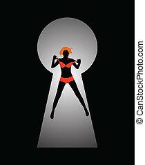 femme, figure, silhouette