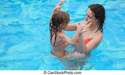 femme, fille, piscine, natation