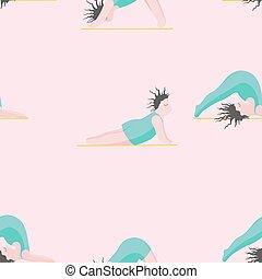 femme, filles, modèle, pose, seamless, yoga., yoga