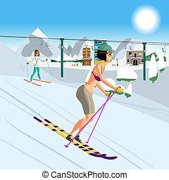 femme, fin, hiver, jeune, maillot de bain, recours, ski