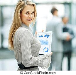 femme, financier,  Business, réussi, graphique, Travail, fond, équipe