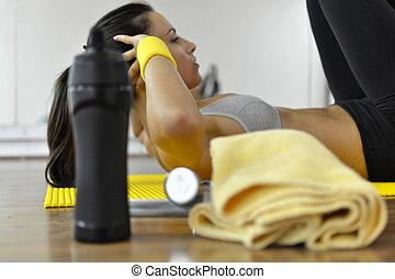 femme, fitness, beau