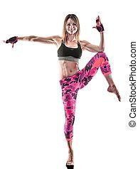 femme, fitness, boxe, pilates, excercises, isolé