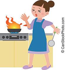 femme, flamme, surpris