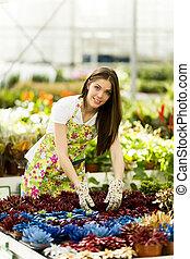 femme, fleur jardin, jeune