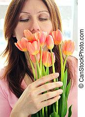 femme, fleurs, mûrir