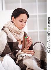 femme, flu., grippe, jeune, lit, froid, mensonge