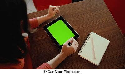 femme, fonctionnement, écran, tablette, vert, notebook.