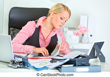 femme, fonctionnement, business, moderne, dur, documents