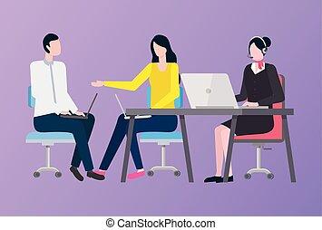 femme, fonctionnement, compagnie, ouvrier, ordinateur portable, homme