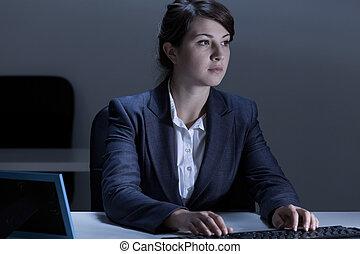 femme, fonctionnement, dans, bureau