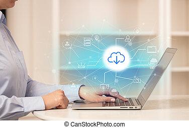 femme, fonctionnement, elle, ordinateur portable, stockage, concept affaires, ligne, technologie, nuage
