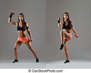 femme, fonctionnement, fitness, dehors, beau