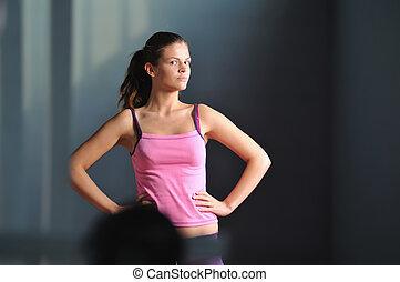 femme, fonctionnement, jeune, pratiquer, fitness, dehors