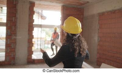 femme, fonctionnement, jeune, site, construction, architecte, heureux