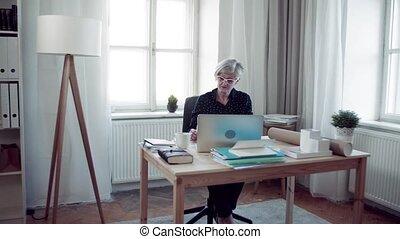 femme, fonctionnement, ordinateur portable, bureau, regarder, actif, maison, personne agee, documents.