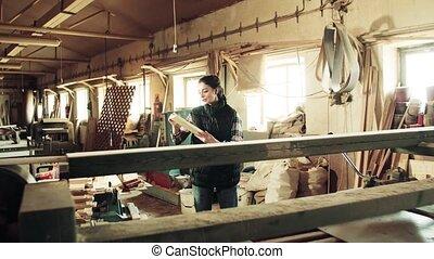 femme, fonctionnement, ouvrier, wood., atelier, portrait, charpenterie