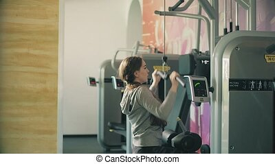 femme, fonctionnement, poids, 4k, levage, dehors