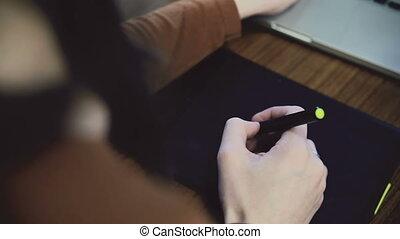 femme, fonctionnement, tablet., glisseur, graphique, mains