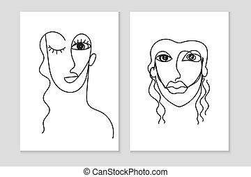 femme, fond blanc, figure