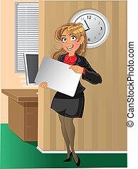 femme, fond, bureau