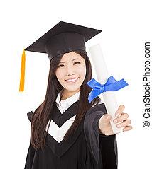 femme, fond, degré, isolé, diplômé, tenue, sourire, blanc