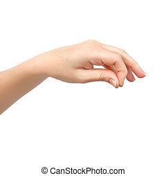 femme, fond, objet, isolé, possession main