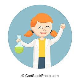 femme, fond, scientifique, tenue, essai, cercle, tubes